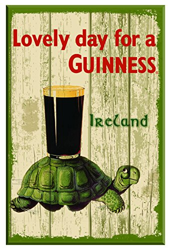 Irish Pub Sign - Nostalgic Guinness Wooden Sign with Tortoise & Pint & Lovely Day For a Guinness
