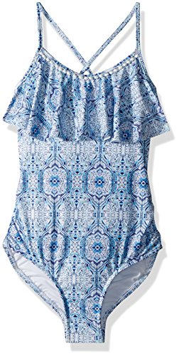 Tile Oceano - Seafolly Big Girls' Ruffle Tank One Piece Swimsuit, Blue Tile, 10