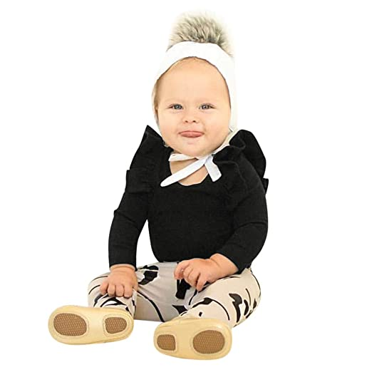 Sunhusing Infant Baby Boys Girls Ruffled Long Sleeve Solid Color Jumpsuit Romper Clothes