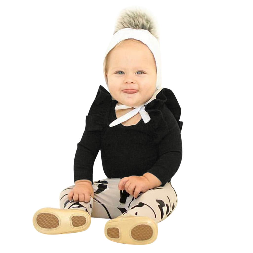 NUWFOR Infant Baby Boys Girls Long Sleeve Solid Jumpsuit Romper Clothes(Black,12-18Months