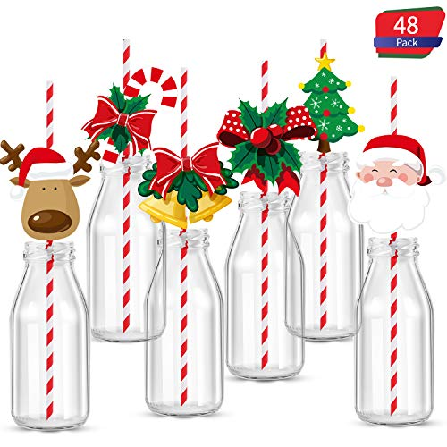 48 Pieces Christmas Drinking Straw Decorations Set, Christmas Straw Striped Decorative, Xmas Party Decor Supplies Navidad Decoration for Cups, Party Favors and Cupcake Toppers