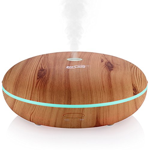 Housmile Essential Oil Diffuser, 350ml Wood Grain Aromatherapy Diffuser Ultrasonic Cool Mist Aroma Humidifier with Adjustable Mist Mode, Waterless Auto Shut-Off, 7 Color LED Lights