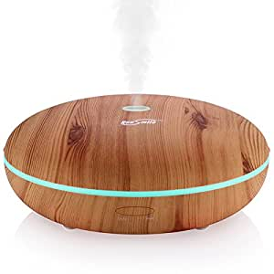 Housmile (Wood Grain,350ml) Essential Oil Diffusers Ultrasonic Cool Mist Humidifiers with Waterless Auto Shut-Off & 7 Color Change LED lights for Office Bedside SPA Living Room