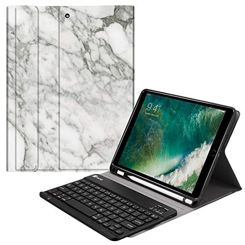 Fintie iPad 9.7 2018 Keyboard Case with Built-in Pencil Holder, [SlimShell] Soft TPU Back Protective Cover w/Magnetically Detachable Wireless Bluetooth Keyboard for Apple iPad 6th Gen, Marble White