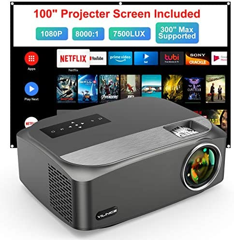 Video Projector Native 1080P/300″ Supported, VILINICE Out of doors Projector with 100″Film Projector Display screen, 100,000h Lamp Life House Theater Projector Appropriate with Cellphone/TV Stick/PC/PS4/DVD/HDMI/USB