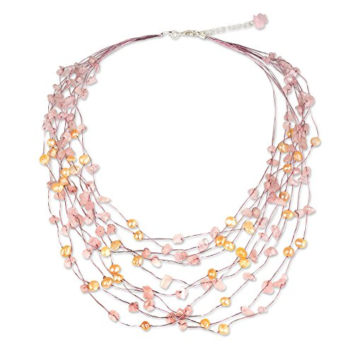 (NOVICA Rose Quartz Peach Cultured Freshwater Pearl Silver Plated Beaded Necklace, 20.75