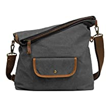 ECOSUSI Canvas Hobo Bag Crossbody School Messenger Shoulder Bags for Men and Women, Gray