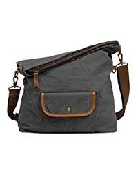 9f36298032cd ECOSUSI Canvas Hobo Bag Crossbody School Messenger Shoulder Bags for Men  and Women