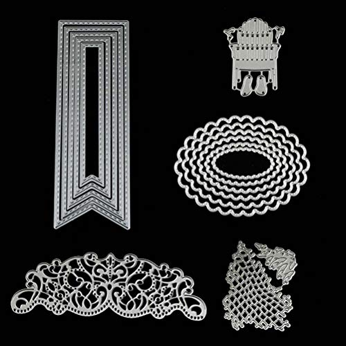 5 Set Oval Banner Fishing Net Flower Cutting Dies Stencils Frame Die Cuts Metal Template Mould DIY Scrapbook Card Making Decoration Tool Gift Photo Album Embossing Scrapbooking Paper Card Decor Craft