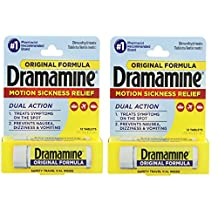 Dramamine Motion Sickness Relief Original Formula, 50 mg, 12 Count 2-Pack