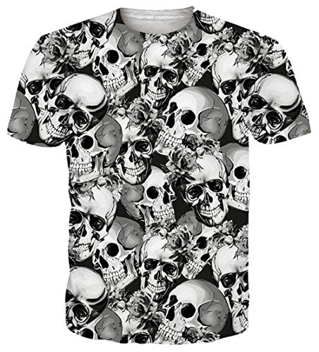 (Goodstoworld Unisex 3D Print Skull T-Shirts Women Men Slim Fit Graphic Tee Shirts Gray Skeleton Skull Gay Guy Beach Party Festival Holiday Surfing Sportswear Hipster Athletic Muscle Tee Shirts Medium)