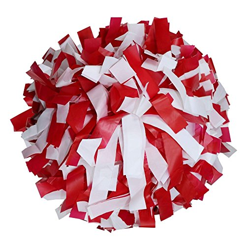 Danzcue 1 Pair 6 Inches Plastic Cheerleading Pom Poms with Dowel Handle, Red-White ()