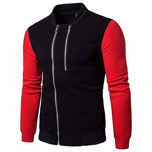 Mens Tops ! Charberry Stitched Double Zipper Design Solid Color Long Sleeve Patchwork Jacket Coat (US-M/CN-L, Red)