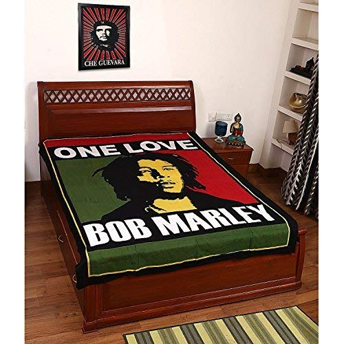 Jaipuri Handloom Crafts New Bob Marley Cotton Bed Cover, Tapestry,Bed Sheet, Throw, Wall Hanging, Hippie Wall Hanging, Wall Decorative Art ()