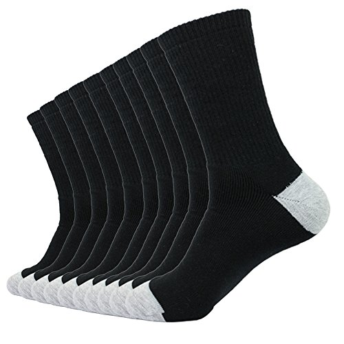 SockMeOne | Mens 10 Pack of Black Crew Socks. Moisture Wicking, Cotton, Thick Cushion, Quality Athletic or Work Socks.