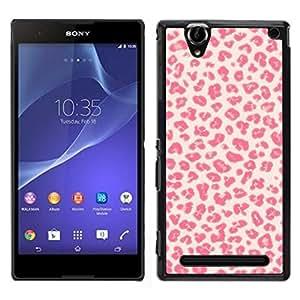 EJOY---Cubierta de la caja de protección para la piel dura ** Sony Xperia T2 Ultra ** --Patrón Besos Amor Piel rosada