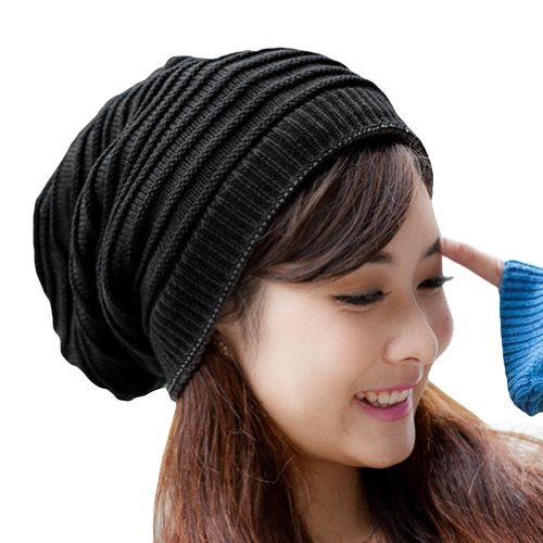 LOCOMO Women Girl Striped Stripes Pattern Slouchy Knit Beanie Crochet Rib  Hat Tube Winter Warm FFH006BLK Black at Amazon Women s Clothing store  105e594530b