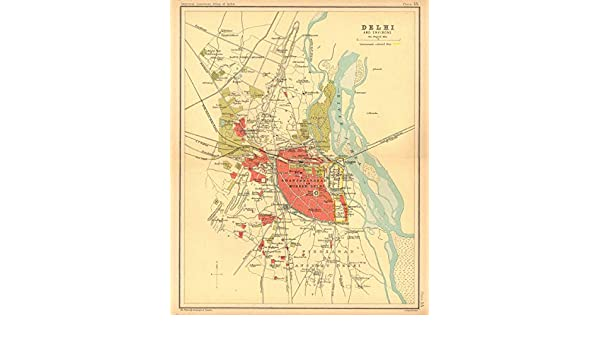 Amazon.com: Delhi Town City Plan. Key Buildings & Cantonment ... on map of india before independence, map and key features of india, flag with key, map of india students, map of india with latitude, map of indian battles in the us, weather with key, map of india with flag, map of india with scale, map of british imperialism india, map of india animation gif, ancient india with key,