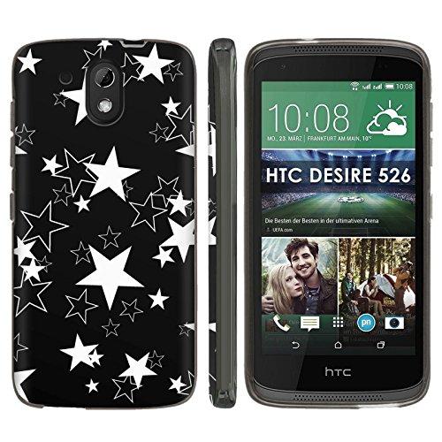 [Mobiflare] HTC Desire 526 TPU Silicone Phone Case [Black] Ultraflex Thin Gel Phone Cover - [Star Tattoo Print] for HTC Desire 526 [4.7