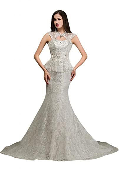 Sunvary Vintage funda Back Lace Up satén encaje sirena vestidos de boda Blanco blanco