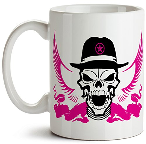 Cool! Scary Pink Winged Skull With Sheriff's Hat, White Ceramic Funny Novelty Coffee Mug, 11 ounces, - Winged Eye Glasses Cat