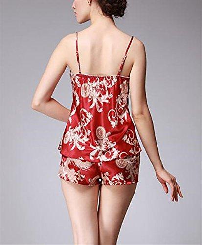 V A Da Rosso Donna Sleepwear Stampa Moda Set Da Spaghetti Kerlana Pigiama Seta Pigiama Morbidi Da Sciolto Pigiama Maniche Senza Scollo Con Notte Notte xgF8nW0pn