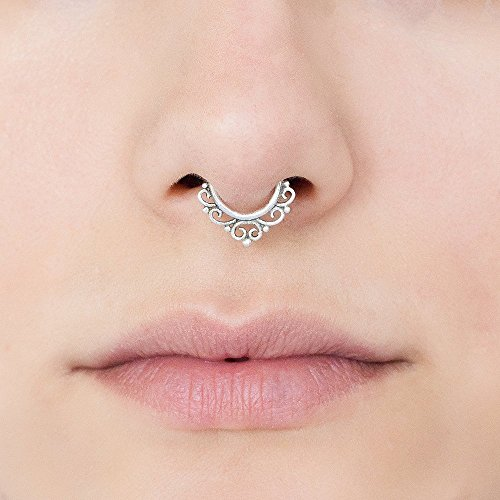 Sterling Silver Septum Ring, Tribal Indian Nose Hoop Piercing Earring, also fits Tragus, Cartilage, Helix, Rook, 18g, Handmade Jewelry by Umanative Design