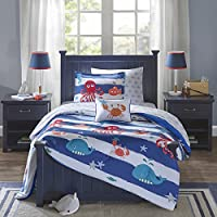 Mi Zone Kids Under the Sea Blue Printed 8-piece Bed in a Bag with Sheet Set (Full-Blue)