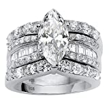 Marquise-Cut White Cubic Zirconia Platinum over .925 Silver 3-Piece Wide Band Bridal Ring Set