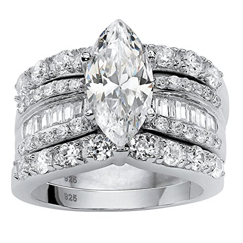 ubic Zirconia Platinum over .925 Silver 3-Piece Wide Band Bridal Ring Set ()