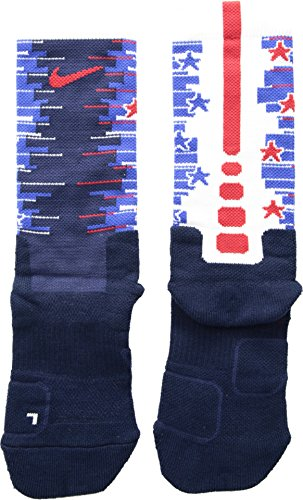 Nike Youth Elite Cushioned Disrupter 1.5 Crew Basketball Socks Red/White/Blue USA 3Y-5Y (Nike Youth Elite Basketball Socks)