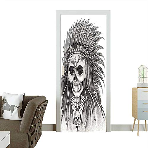 Door Sticker Wall Decals Skull Day of The Dead Hand Drawing on Paper Easy to Peel and Stick W32 x H80 INCH (Best Skull Drawing Ever)