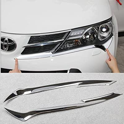 Chrome Headlight front light lamp cover Bezel Trim for Toyota rav4 2013 2014