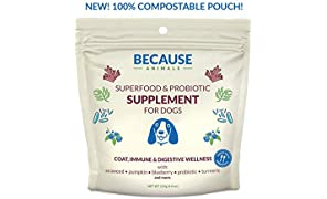 Because Animals Superfood & Probiotic Supplement for Dogs (4.4oz) – All-Natural, Human-Grade Ingredients –With Vitamins, Minerals, Antioxidants and More for Better Digestion, Coat and Overall Health