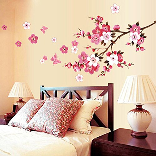 Staron Peach Blossom Flower Butterfly Wall Stickers,Easy to Stick + Safe on Painted Walls Beautiful Home Bedroom Living Room Kitchen Office Wall Decals Art Stickers Vinyl Mural - Bedroom Paint