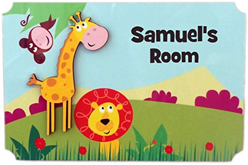 (Rikki Knight Samuel's Room - 3D Giraffe on Jungle - Door Sign Plaque with Name for Children and Baby's Bedroom)