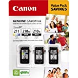 Canon 2973B009 PG-210XL Black and CL-211 Tricolor Ink Cartridge Combo Pack, Office Central