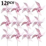 Coxeer Pinwheel, 12PCS Kid's Pinwheel Cute Dot Stripe Pattern Windmill Pinwheel Birthday Garden Ornaments, Party Supplies Decor