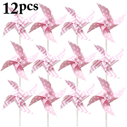 Coxeer Pinwheel, 12PCS Kid's Pinwheel Cute Dot Stripe Pattern Windmill Pinwheel Birthday Garden Ornaments, Party Supplies Decor by Coxeer