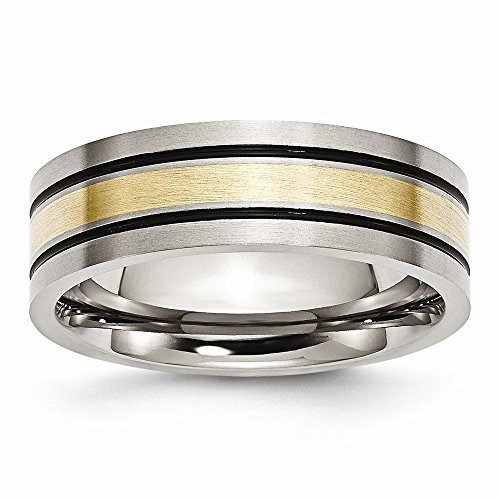 (14K Two-Tone Titanium/14K Two-Tone Wedding Band Ring Flat Antiqued Brushed Yellow 14K Gold 7 mm Yellow Inlay Flat 7mm Brushed Antiqued)