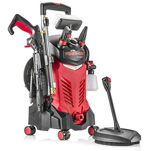 Powerhouse International - Electric High Power- Pressure Washer - 3000 PSI 2.2 GPM - Power Washer - Patio Cleaner - Hose Reel - Spray Gun (Red - Platinum Edition) (Renewed)