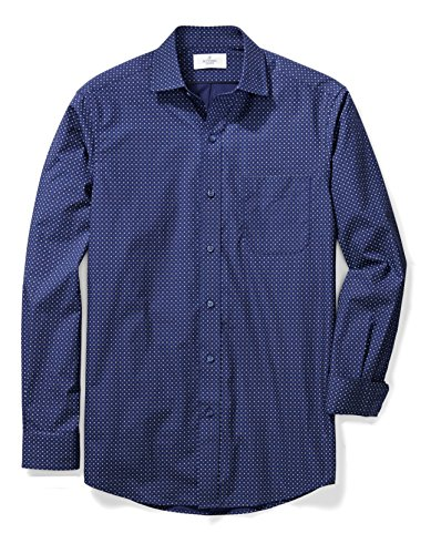 BUTTONED DOWN Men's Classic Fit Supima Cotton Spread-Collar Pattern Non-Iron Dress Shirt, Navy/Blue Geo, XL 36/37