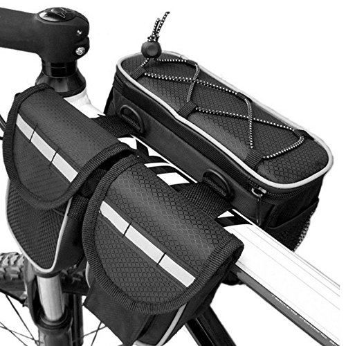 Meanhoo Bicycle Bike Seatpost Bag Frame Pannier Top Tube Bag Trunk Bag With Multifunction Pannier Seat Expandable Pannier Saddle Rear Rack Seat bicycle Bag - Black