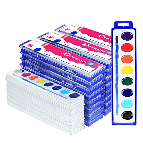 38 Bulk Water Color Oval Paints - 24 Sets and 14 Refills - Jumbo Pack - -