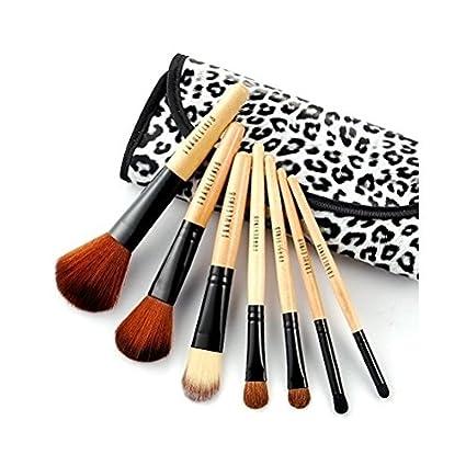 kit de 7 piezas con mango de madera pinceles de maquillaje con estuche de leopardo by ARTUROLUDWIG