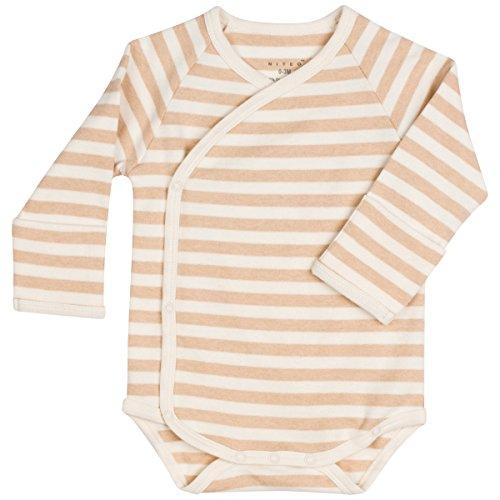 Organic Cotton Kimono Onesie - Niteo Baby Organic Cotton Kimono Onesie Bodysuit Long Sleeve with Side Snaps, Light Brown Stripes, 3-6M