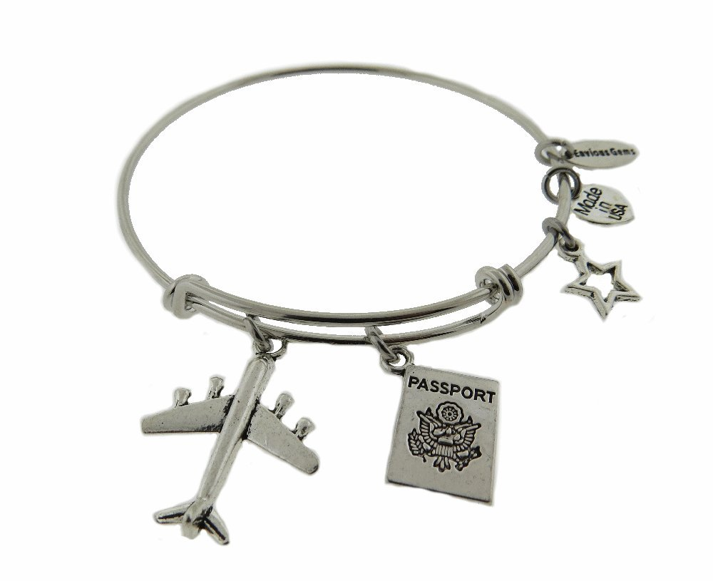 Envious Gems Airplane with Passport Silver Tone Expandable Wire Bracelet (2.25'')
