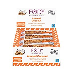 FODY - Low FODMAP Almond Coconut Snack Bars 40g (1.41oz) (Box of 12)
