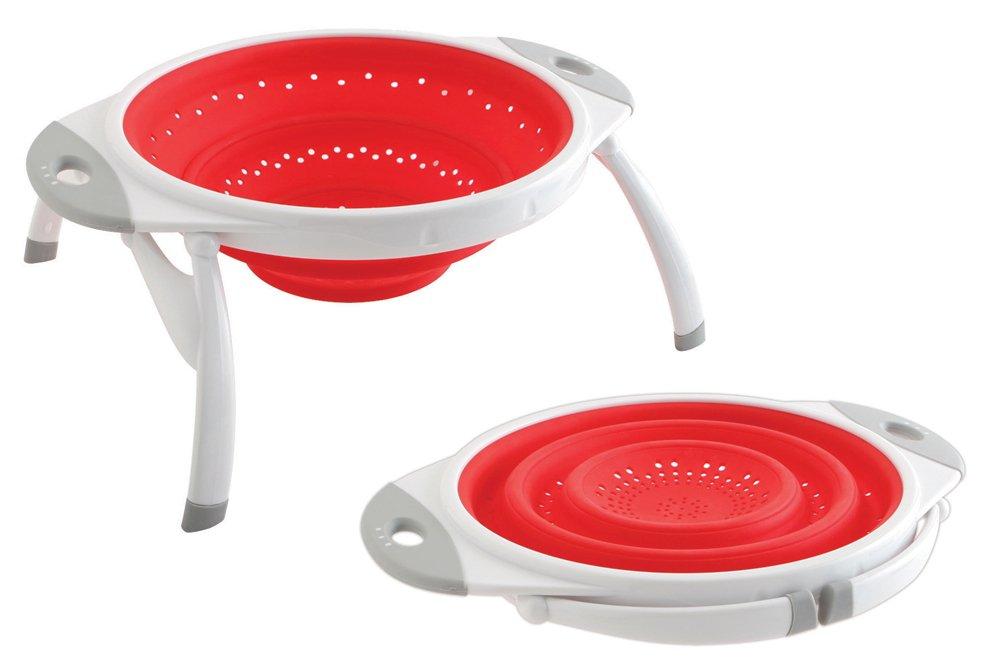 Dexas 10-Inch Silicone Pop Colander, Red/White 10CC321795