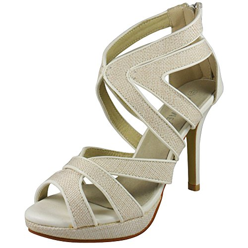 LoudLook New Womens Ladies Cutout Party Bridal High Heel Casual Fashion Size 3-8 UK White NuGtp